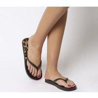 Office Seaside- Ombre Toe Post Sandal BLACK LEOPARD