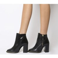 Office Affluent- Cupped Heel Side Zip Boot BLACK LEATHER GOLD HARDWARE
