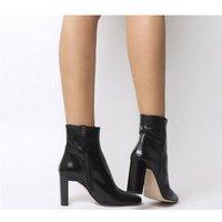 Office All Night- Set Back Block Heel Boot BLACK LEATHER