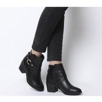 Office Angelina- Block Heel Strap Ankle Boot BLACK