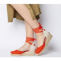 shop for Office Mini- Tie Up Two Part Espadrille RED CANVAS at Shopo