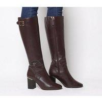Office Keepers- Smart Block Heel Knee Boot BURGUNDY LEATHER