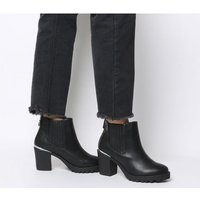Office Agile- Chunky Chelsea Boot BLACK WITH METAL HEEL CLIP