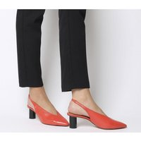 Office Mischief- Pointed Sling Back RED LEATHER BLACK SPRAY HEEL