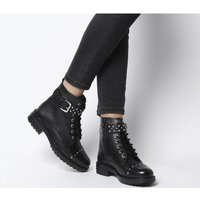 shop for Office Alpaca- Stud Detail Lace Up Biker BLACK LEATHER SILVER STUDS at Shopo