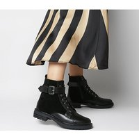 shop for Office Alpaca- Buckle Lace Up Biker BLACK LEATHER SUEDE MIX at Shopo