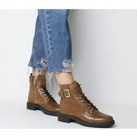 shop for Office Alpaca- Stud Detail Lace Up Biker TAN LEATHER SUEDE MIX at Shopo