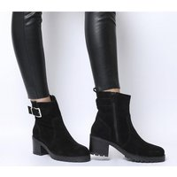 Office Ark- Casual Mid Buckle Boot BLACK SUEDE
