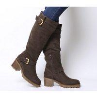 Office Kadi- Casual Mid Buckle Knee Boot BROWN SUEDE