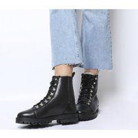 shop for Office Ansel- Hiker Lace Up BLACK LEATHER NATURAL FUR LINING at Shopo
