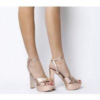 shop for Office Hot Shot- Block Heel Platform ROSE GOLD LEATHER at Shopo