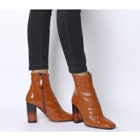 shop for Office All Right- Block Heel Boot RUST PATENT LEATHER TRANSPARENT HEEL at Shopo