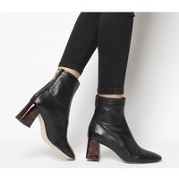 Office All Day- Back Zip Block Heel Boot BLACK LEATHER TORTOISESHELL HEEL
