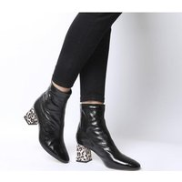 shop for Office All Day- Back Zip Block Heel Boot BLACK LEATHER WITH SNAKE LEOPARD HEEL at Shopo