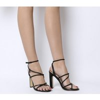 shop for Office Heaven- Tubular Sandal Block Heel BLACK SNAKE MIX at Shopo