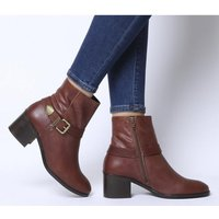 Office Admiral- Buckle Strap Mid Block Boot TAN LEATHER