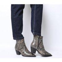 Office Ayla Western Block Heel Boots SNAKE LEATHER