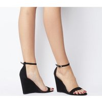 shop for Office Hoot Two Part Slim Wedge BLACK NUBUCK at Shopo