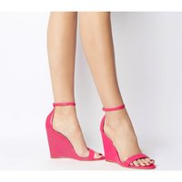 Office Hoot Two Part Slim Wedge NEON PINK LEATHER