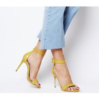 Office Heart Triple Strap Two Part Sandal YELLOW CROC LEATHER
