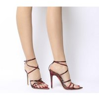 shop for Ego Kaia Strappy Heel RED SNAKE at Shopo