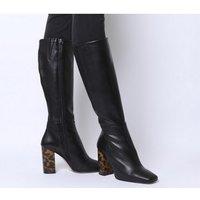 Office Khameleon- Block Heel Knee Boot BLACK LEATHER TORTOISESHELL HEEL