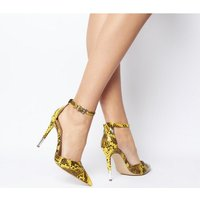 Office O-hermana- Pointed Court Heel Detail YELLOW SNAKE