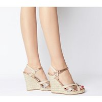 shop for Office Half Moon Woven Upper Wedge NUDE METALLIC at Shopo