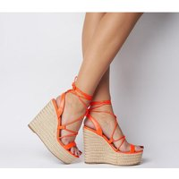 shop for Office Hula Ghillie Chunky Wedge FLURO ORANGE at Shopo