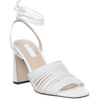 Office Macaroon Multi Skinny Strap Ankle Tie Block Heel WHITE