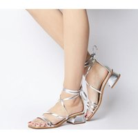 Office Minimal Strappy Mid Block SILVER LEATHER