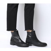 Office Ashby- Stretch Panel Flat Boot BLACK LEATHER