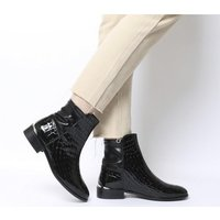 Office Ashby- Stretch Panel Flat Boot BLACK CROC LEATHER
