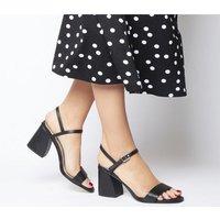 Office Moore Flared Heel Sandal BLACK LEATHER