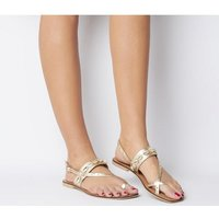 Office Shell-  Toe Post Sandal GOLD LEATHER WITH SHELLS