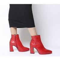 Office After Party-point Platform Boot RED LEATHER