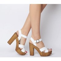 shop for Office Hawaiian Cross Strap Wood Platform WHITE LEATHER at Shopo