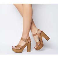 shop for Office Hawaiian Cross Strap Wood Platform TAN LEATHER at Shopo