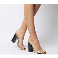 shop for Ego Brooke Transparent Block Heel Mule YELLOW SNAKE BLACK at Shopo