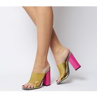 shop for Ego Brooke Transparent Block Heel Mule GREY SNAKE NEON PINK at Shopo