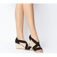 Office Maiden Wedge With Metallic Rand BLACK SUEDE WITH GOLD RAND