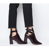 shop for Office Alternative- Cut Out Block Heel Boot BURGUNDY CROC LEATHER at Shopo