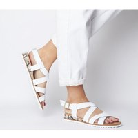 shop for Office Sherwood- Cross Strap Espadrille WHITE LEATHER SNAKE WEDGE at Shopo