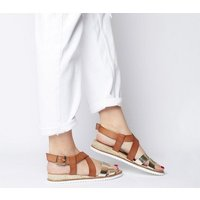 Office Sherwood- Cross Strap Espadrille TAN LEATHER GOLD MIX