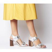 Office Melanie Two Part Buckle Sandal SILVER CRACKLED LEATHER