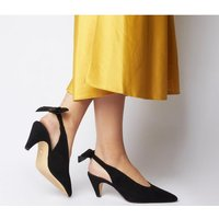 Office Memo Pointed Slingback With Bow BLACK SUEDE