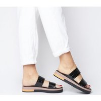 shop for Office Stadium- Double Strap Wedged Sandal BLACK CROC LEATHER at Shopo