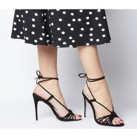 Office Hot Totty Multi Strap Ankle Tie Sandal BLACK NUBUCK