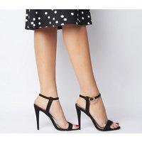 Office Hotness Cone Heel Two Part Sandal BLACK NUBUCK