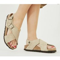 shop for Birkenstock Tulum Cross Sandal TAUPE at Shopo